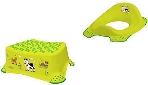 2er Set Funny Farm grasgrün WC Aufsatz + Hocker Toilettentrainer OKT Kids