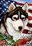 "Siberian Husky Black/White Dog – Tamara Burnett Patriotic I Garden Dog Breed Flag 12"" x 17"""