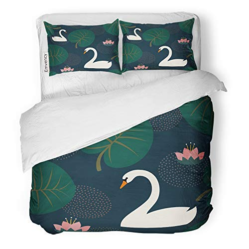 Emvency Decor Duvet Cover Set Twin Size Green Trendy with White Swans Water Lily and Leaves on Dark Blue Night Lake 3 Piece Brushed Microfiber Fabric Print Bedding Set Cover