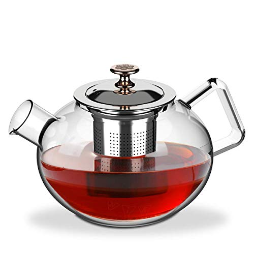 Glass Tea High - Plaviya Stovetop Safe Glass Teapot, Heat Resistant Borosilicate Glass Tea Pot with Stainless Steel Removable Infuser for Loose Leaf Tea, Blooming Tea, Suitable for 4-6 People, 800ML/27Ounce