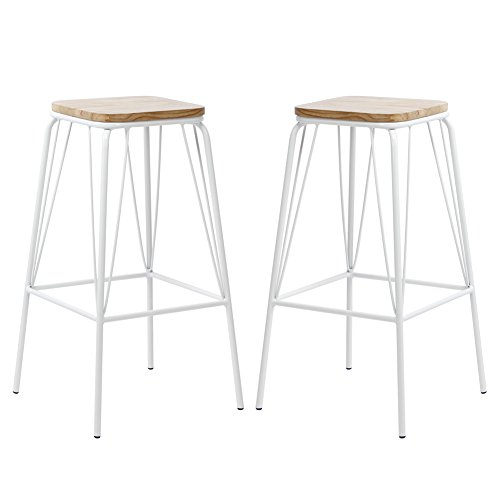 VIVA HOME Metal Chair Counter Dining Barstool with Elm Seat Pan, Set of 2, White