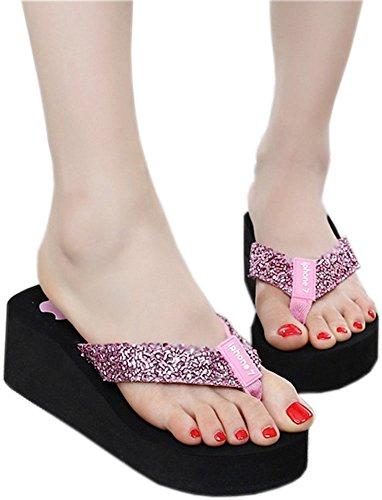 Bettyhome Dames Damesmeisjes Mode Glanzend Teenslippers Comfortabel Casual Wiggen Sandalen Strand Slippers Roze Pantoffels