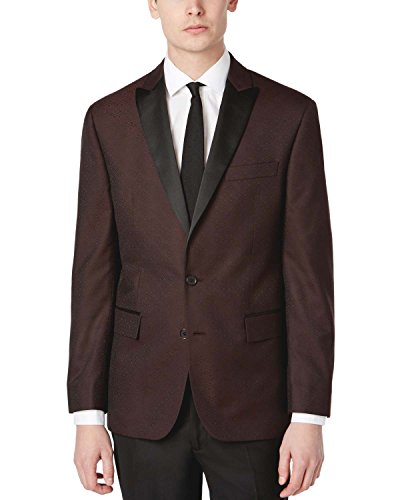 Tuxedo Jacket Breasted Double Peak (RYAN SEACREST Modern Fit Burgundy Patterned Dinner Jacket 40 Regular 40R)