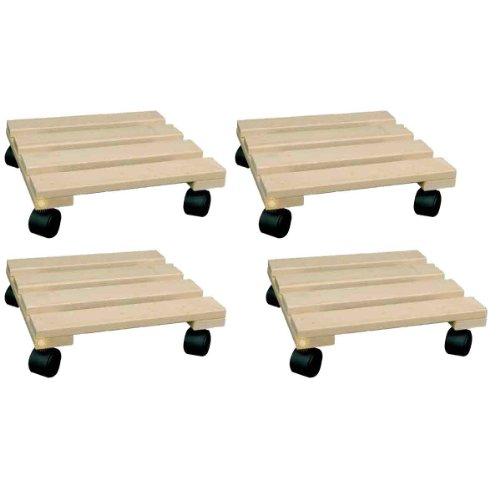 SIDCO ® 4 x Pflanzenroller Blumenroller Rollbrett Untersetzer Holz eckig 30 x 30