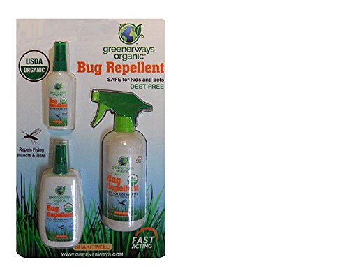 Greenerways Organic, Insect Repellent, Bug Spray, Premium, USDA Organic, Non-GMO, Mosquito-Repellent, Clothing Safe, Kid Safe, Pet Safe, Baby Repellant, DEET FREE, 3-PACK DEAL (1) 2oz (1) 4oz (1) 16oz