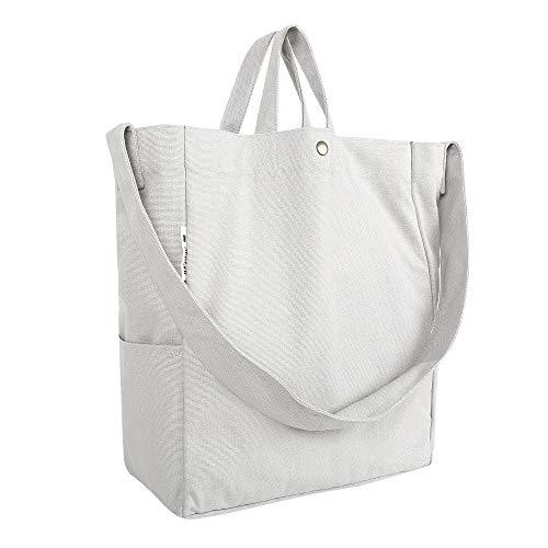 Apackr Canvas Tote Shoulder Bag Crossbody Casual Daypack Handbag for Travel, Shopping and Daily Use (Gray) Canvas Shoulder Tote Bag