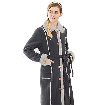 Scarlett Button Front Sleepwear Long Bathrobe Ultra-Soft Trim Velour Robes for Women M-XXL