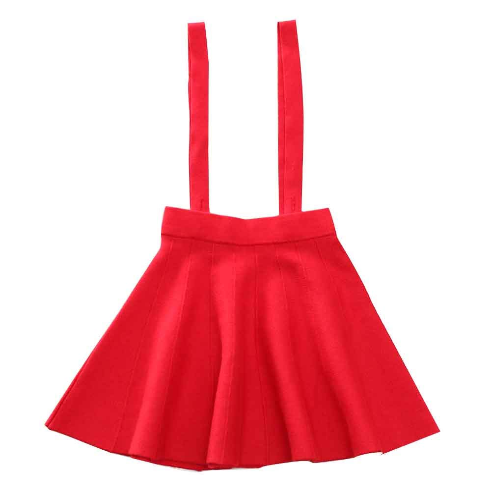 Girl's Kids Solid Knit Flare A Line Mini Suspender Skirt Age 3-13 Years