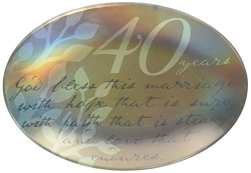 Enesco This is the Day by Gregg Gift 40th Anniversary Glass Plate, 5