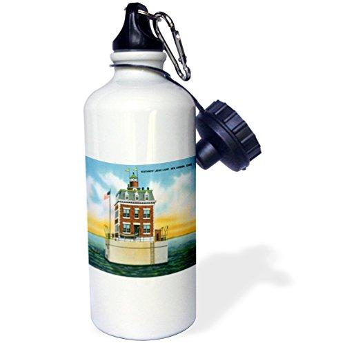 3dRose Southwest Ledge Light, New London, Connecticut. Lighthouse-Sports Water Bottle, 21oz (wb_169564_1), 21 oz, Multicolor ()