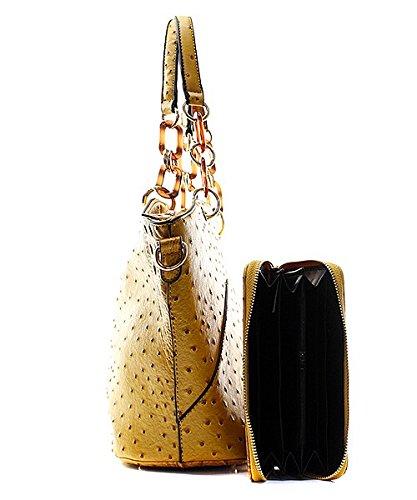 Handbag Inc Ostrich Vegan Leather Hobo Shoulder Handbag and Wallet (Black) by Handbag Inc (Image #3)