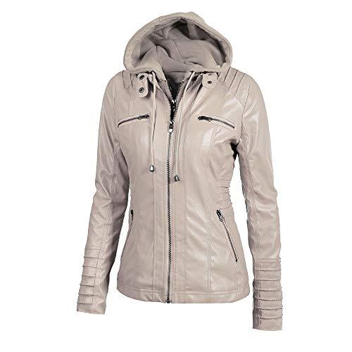 Solid Womens Autumn Lapel Coat Fashion Slim Casual Warm Outwear Hooded Overcoat Khaki Winter Removable Zipper Jacket HOOUDO Tops Uq6gnf6