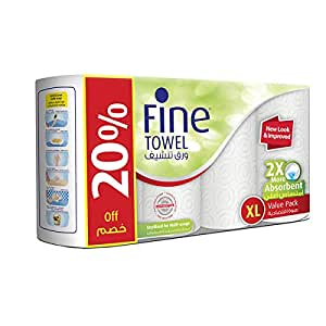 Fine 2X More Absorbent Extra Long Absorbent Kitchen Paper Towel Tissue Rolls - Pack of 4 Rolls, 100 Sheets x 2 Ply