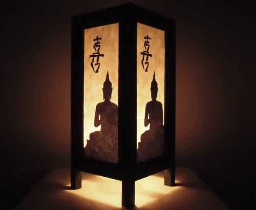 Thai Vintage Handmade Asian Oriental China Black White Buddha Bedside Table Light or Floor Wood Paper Lamp Shades Home Bedroom Garden Decor Modern Design from ()