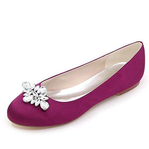 12 Ivoire F9872 Cour Femmes Chaussures purple de Shoes Toe Bas Tailles Elobaby Satin Court Court Talon Strass Mariage F0qxna8