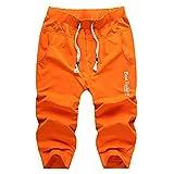 TOPING Fine Fashion Jogger Pants Men Casual Calf-Length Sweatpants For Men Youths Cotton Boys OrangeX-Large