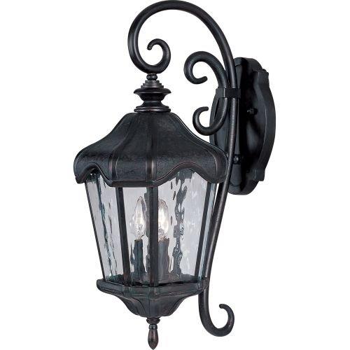 Maxim Lighting 40274WGOB Three Light Water Glass Wall Lantern, Oriental Bronze -