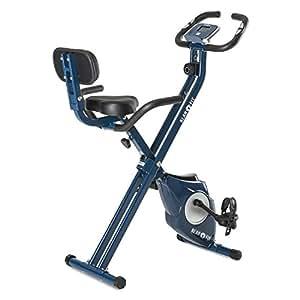 Klarfit Azura [CF/Pro] X-Bike • Bicicleta Fija • Bicicleta Estática • medidor de Pulso • Peso a rotar de 3 kg • Opcional: Respaldo y Soporte Lateral • Asiento ergonómico • Máx. 100kg • Azul