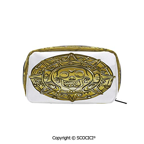 Printed Portable rectangle Makeup Cosmetic Bag Gold Money Pirate Coin Medallion Scary Skull Figure Ancient Antique Currency Print Decorative Durable storage bag for Women Girls