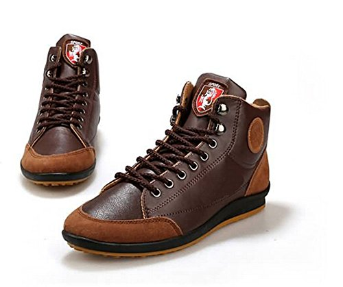2015 Herbst Lederstiefel Knöchel Absatzschuh Winter-Herrenmode casual Sneakers plus Samt warmen Baumwolle 39-42 braun