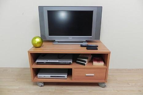 Azor - Mesa tv 90 con ruedas, medidas 90 x 50 x 40 cm, color nogal: Amazon.es: Hogar