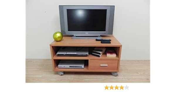 Azor - Mesa tv 90 con ruedas, medidas 90 x 50 x 40 cm, color nogal ...