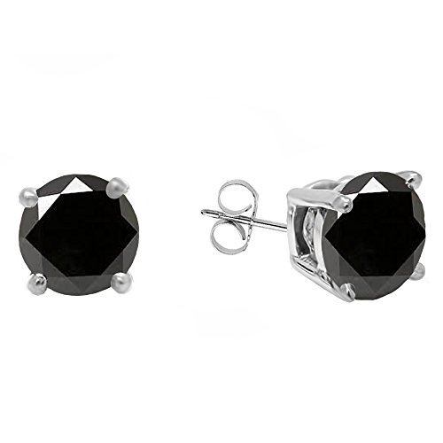 Dazzlingrock Collection 18K 5 MM Each Round Black Sapphire Ladies Solitaire Stud Earrings, White Gold