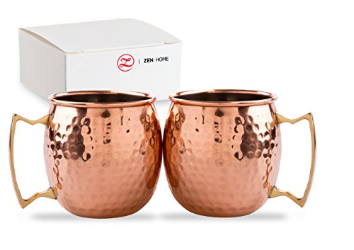 Brass Copper Tin (Copper Mug 4 Moscow Mule - Solid Handmade Copper Drink Cup w/ Brass Handle - Hammered for Unique & Authentic Look / Feel - Double 16oz Cocktail)