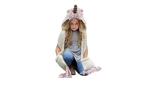 aff7c1b04b7 Tmrow Girls Kids Crochet Cartoon Unicorn Winter Hat with Scarf Pocket  Hooded Knitting