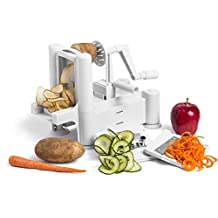 Greenco Strongest-and-heaviest Duty Professional Manual Tri-blade Spiralizer, Fruit and Vegetable Spiral Slicer - 3 Different Sizes of Japanese Stainless Steel Blades with Strong Suction Base