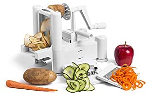 Greenco 0001 Strongest-and-heaviest Duty Professional Manual Tri-Blade Spiralizer, Fruit and Vegetable Spiral Slicer, 3 Different Sizes of Japanese Stainless Steel Blades with Strong Suction Base