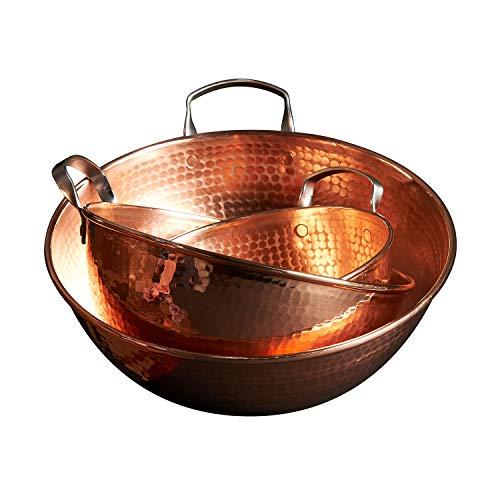 Sertodo Copper Handled Mixing Bowls, 3 piece set, 100% pure -