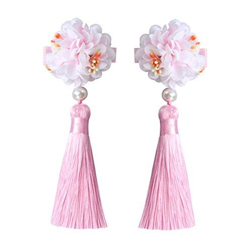 Chinese Style Girls Flower Tassels Hair Clips Kids Cheongsam Hair Accessories