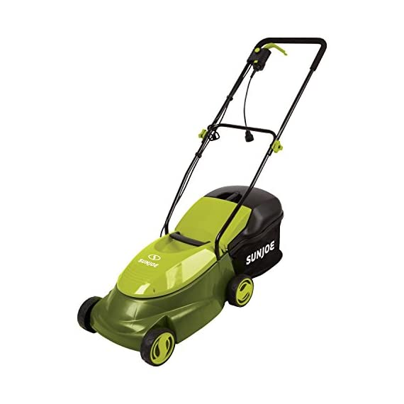 Sun joe mj401e 12 amp electric lawn mower 5 powerful: 13-amp motor cuts a 14-inch wide path adjustable deck: tailor cutting height with 3-position height control steel blades: durable 14-inch steel blade cuts with precision