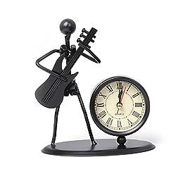 Yeahii Iron Table Desk Alarm Clock With Creative Musical Instrument Gadget Decoration Craft Gift Desk Handiwork (#8:Electric Guitar)