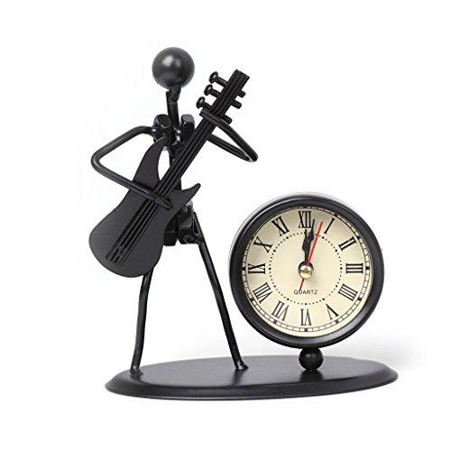 Yeahii Iron Table Desk Alarm Clock With Creative Musical Instrument Gadget Decoration Craft Gift Desk Handiwork (#8:Electric Guitar)]()