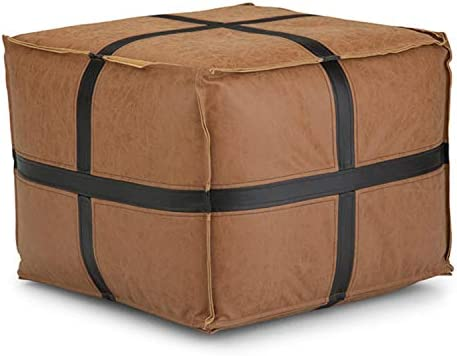 Simpli Home Anson Square Pouf, Footstool, Upholstered in Brown Faux Leather, for the Living Room, Bedroom and Kids Room, Transitional, Modern