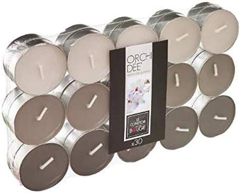 Comptoir de la Bougie Lot de 30 Bougies Chauffe-Plat Parfum/ées 3,7cm Orchich/ée