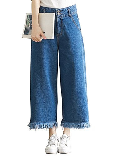 Gooket Womens Wide Leg Crop Denim Jeans Pants Tassel Hem Flare Jeans Tag XL-US 8 Flare Dark Wash