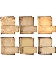 قرطاسية ورقية قديمة، مجموعة من 100 قطعة (50 ورقة + 50 ظرفًا مطابقًا)، ورق برشمان عتيق الطراز، مقاس الحروف 21.59 × 27.94 سم، 6 تصميمات، ورق مزدوج الجوانب، من بيتر أوفيس برودكتس