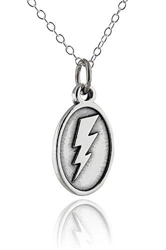 Oval Bolt (Sterling Silver Oval Lightning Bolt Pendant Necklace, 18