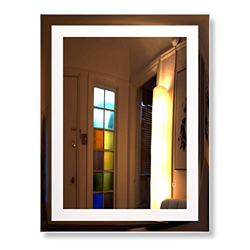 HAUSCHEN 36x28 inch LED Lighted Bathroom Wall Mounted Mirror with High Lumen+CRI 90 Adjustable Warm White/Daylight Lights+Anti Fog+Dimmable Memory Touch Button+IP44 Waterproof+Vertical & Horizontal