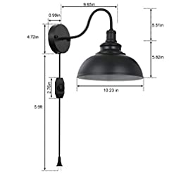 Farmhouse Wall Sconces Black Gooseneck Industrial Wall Sconces E26 Base with Plug in Wall Lamp Dimmer Switch Vintage Style Wall Light Fixture… farmhouse wall sconces