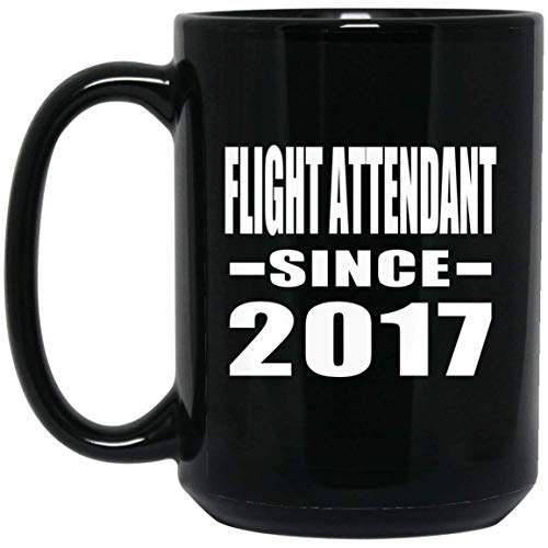(Designsify Flight Attendant Since 2017-15 oz Coffee Mug, Ceramic Cup, Best Gift for Family Friend Birthday Wedding Anniversary Special Holiday Mother's Father's)