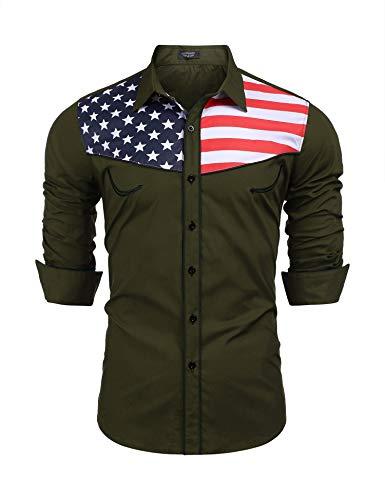 COOFANDY Men Casual Half Stars Half Stripes American Flag Dress Shirts