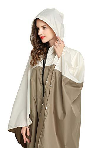 Women Rain Poncho Stylish Polyester Waterproof Raincoat Free Size with Hood Zipper Styles (Brown White)