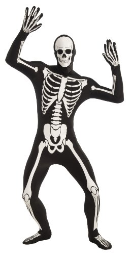 Forum Novelties Men's Disappearing Man Patterned Stretch Body Suit Costume Glow-In-The-Dark Skeleton, Black/White, Medium/Large - Skeleton Spandex Bodysuit