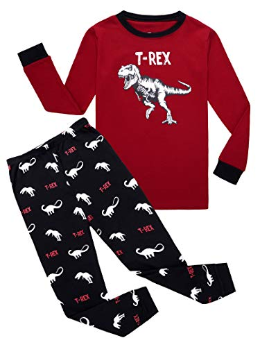 Dinosaur Little Boys Long Sleeve Pajamas 100% Cotton Pjs Toddler Sleepwears Size 5 ()