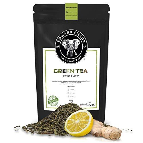 Edward Fields - Te Verde organico de alta calidad con Jengibre y Limon Ingredientes y aromas naturales Cantidad 100g Formato Granel Origen China Detox, antioxidante, adelgazante
