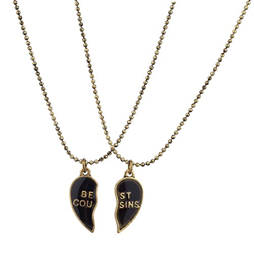 Lux Accessories Burnish Gold Best Cousins Mood Detachable Heart Necklace Set (2 Pc)